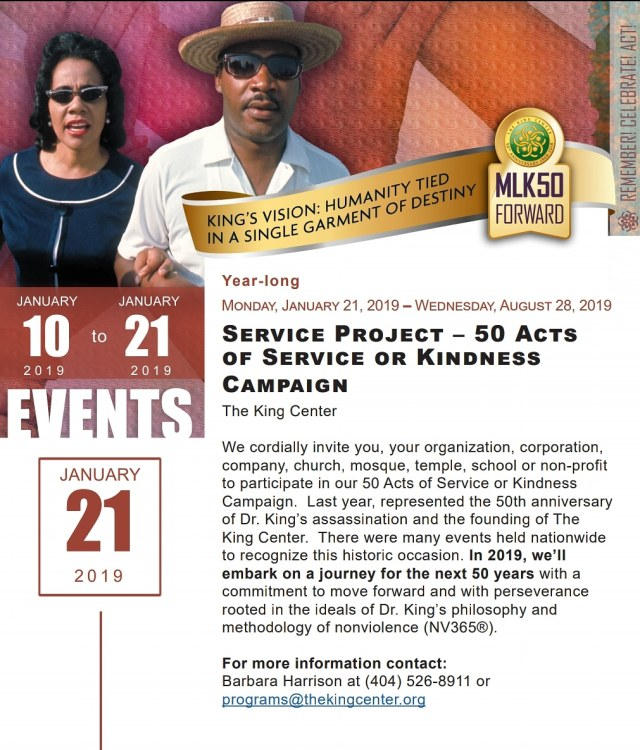 mlk 50 acts of svc or kindness